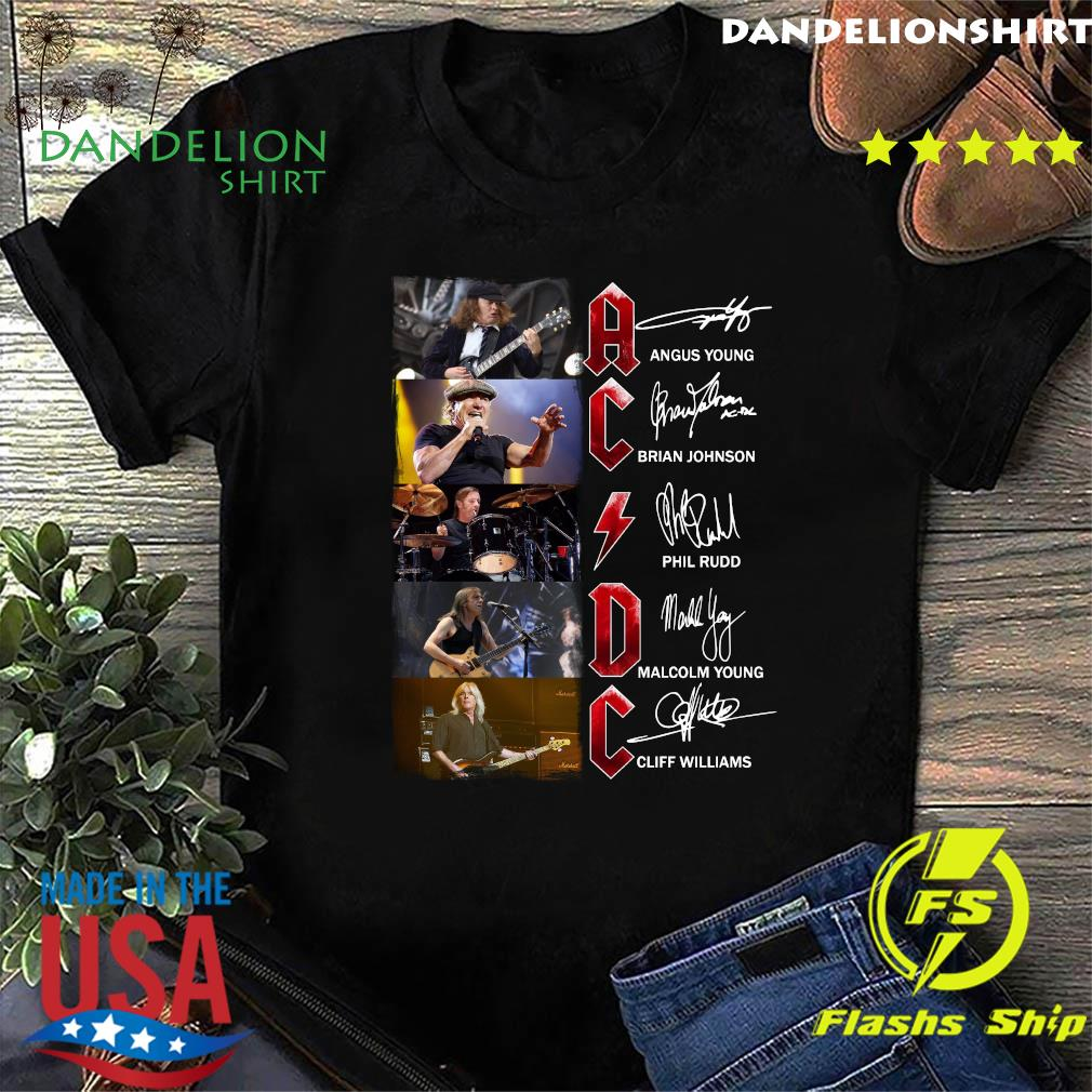 Ac Dc Angus Young Brian Johnson Phil Rudd Malcolm Young Cliff Williams Signatures Shirt