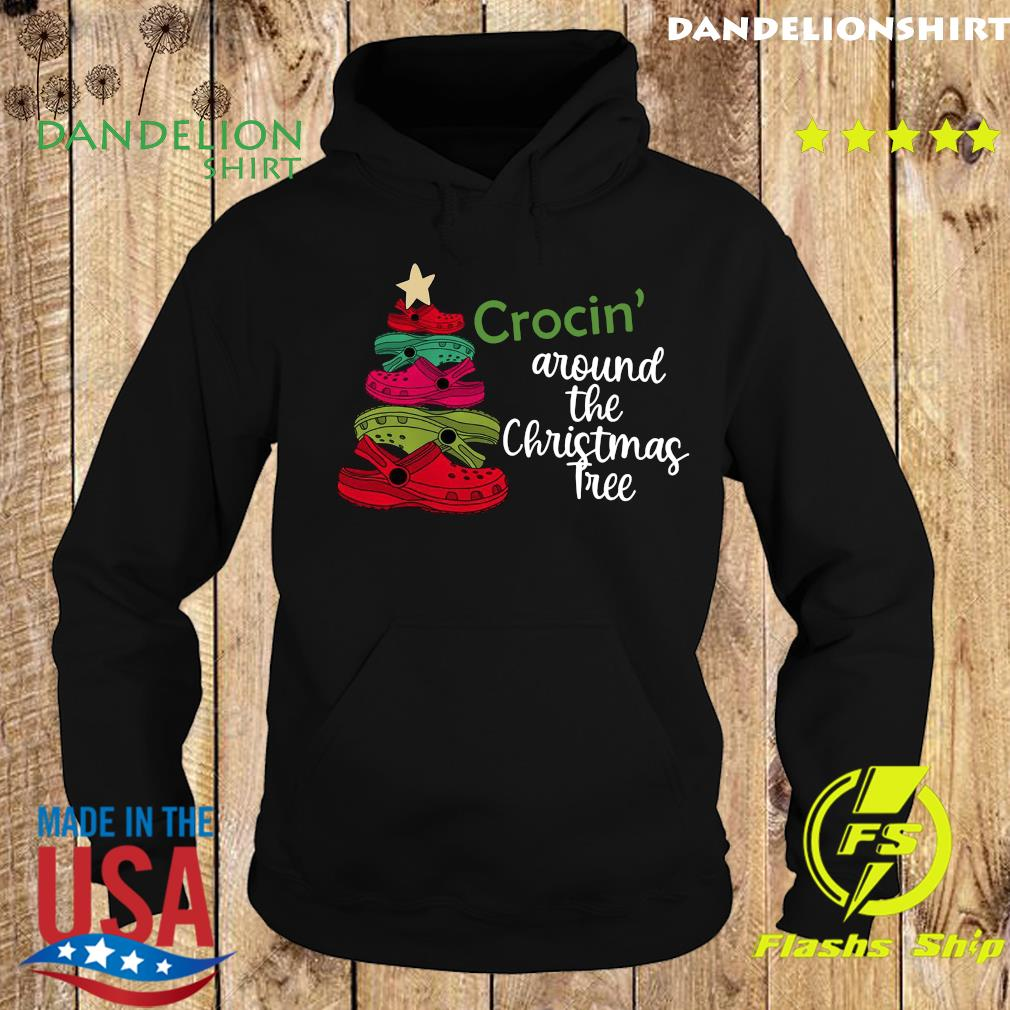 Crocin Around the Christmas Tree Shirt, Watercolor Crocs, Crocs Christmas Tree Sweats Hoodie