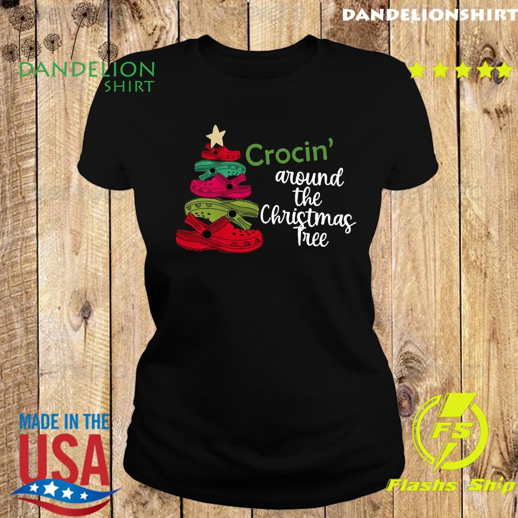 Crocin Around the Christmas Tree Shirt, Watercolor Crocs, Crocs Christmas Tree Sweats Ladies tee