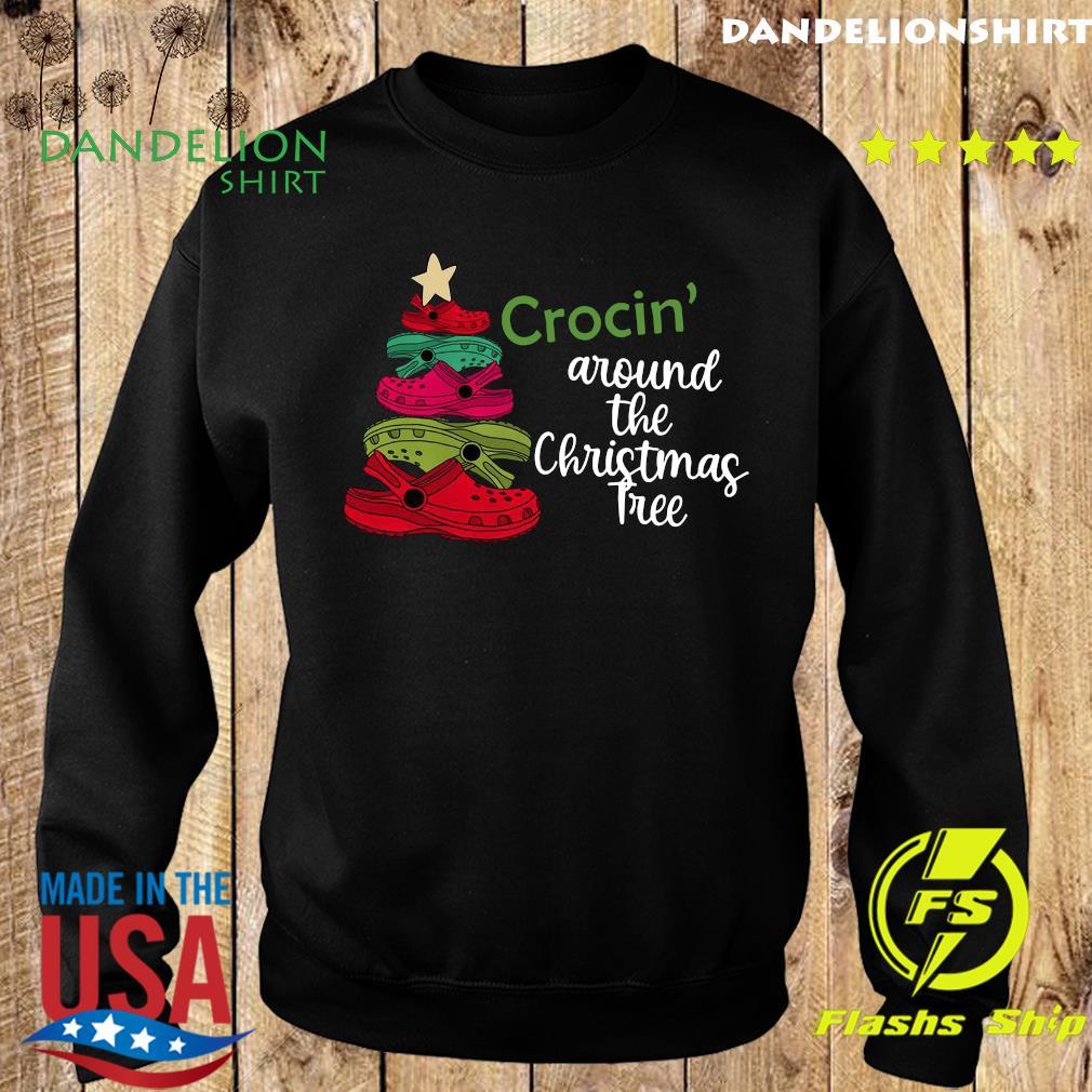 Crocin Around the Christmas Tree Shirt, Watercolor Crocs, Crocs Christmas Tree Sweatshirt