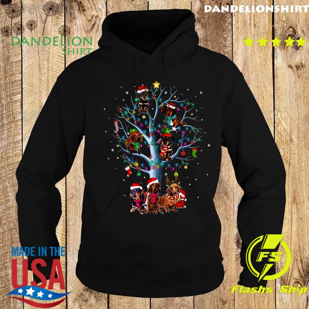 Dachshund Santa Tree Merry Christmas Light Sweats Hoodie