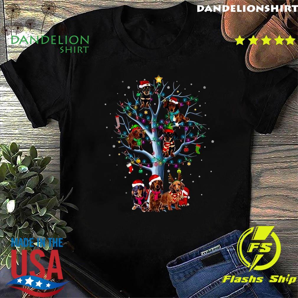 Dachshund Santa Tree Merry Christmas Light Sweats Shirt