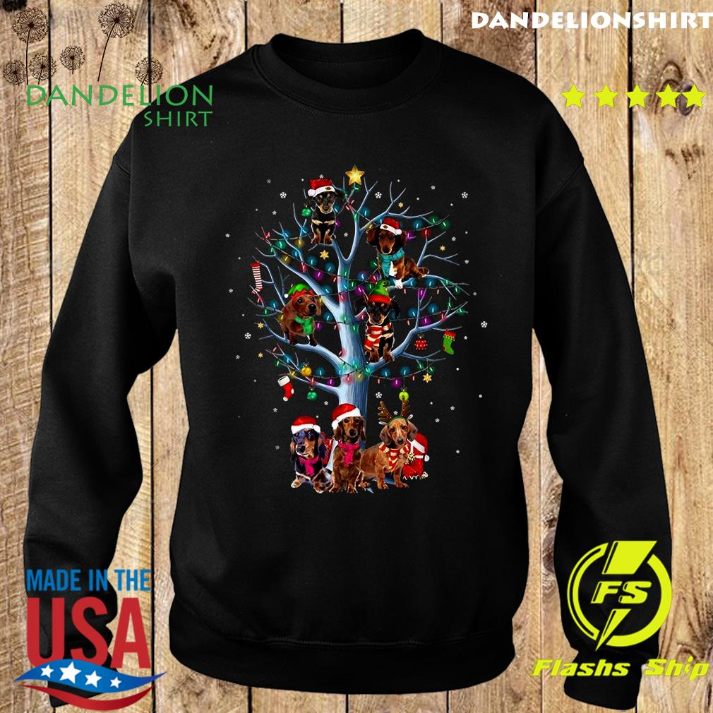 Dachshund Santa Tree Merry Christmas Light Sweatshirt