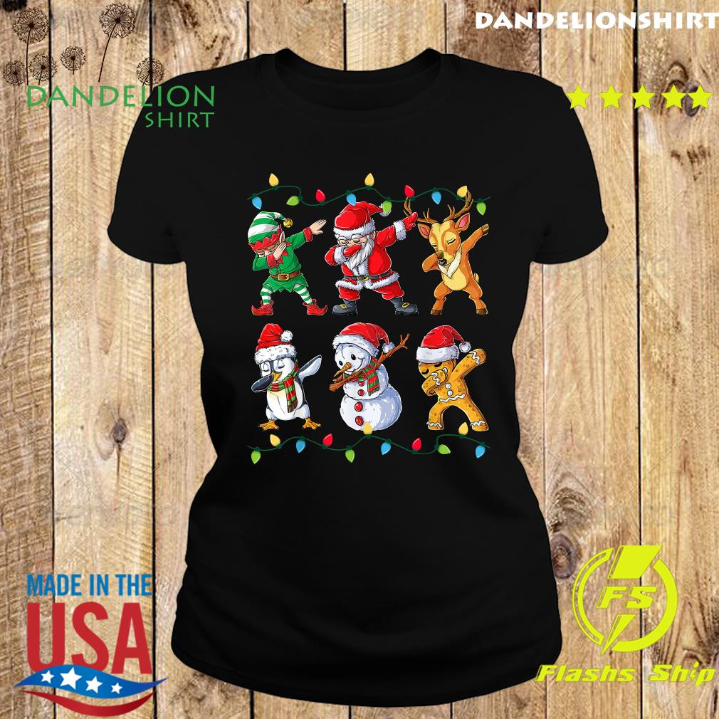 Elf Santa Claus Reindeer Penguins Snowman Gingerbread Dabbing Christmas Sweats Ladies tee