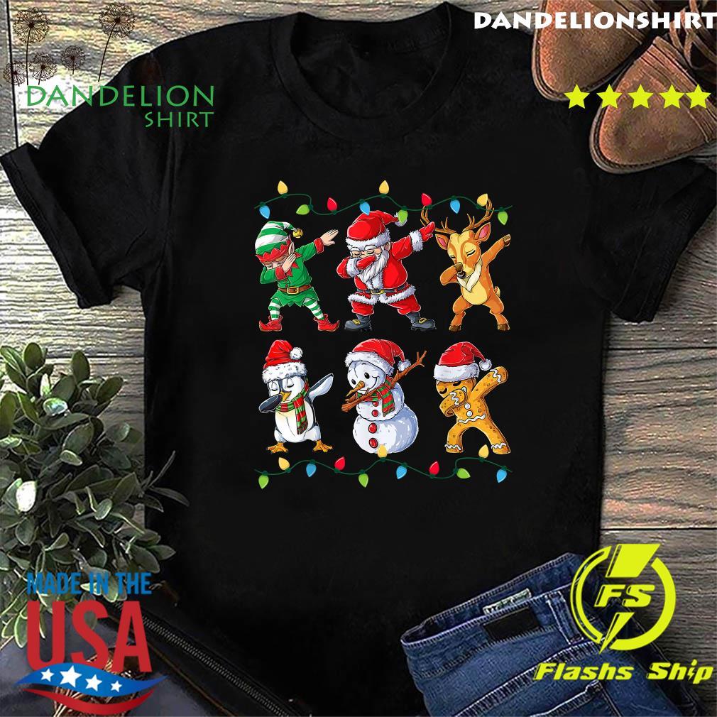 Elf Santa Claus Reindeer Penguins Snowman Gingerbread Dabbing Christmas Sweats Shirt