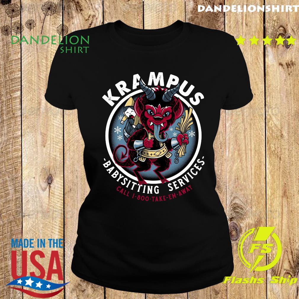 Krampus Babysitting Services Call 1 800 Take Em Away Shirt Ladies tee