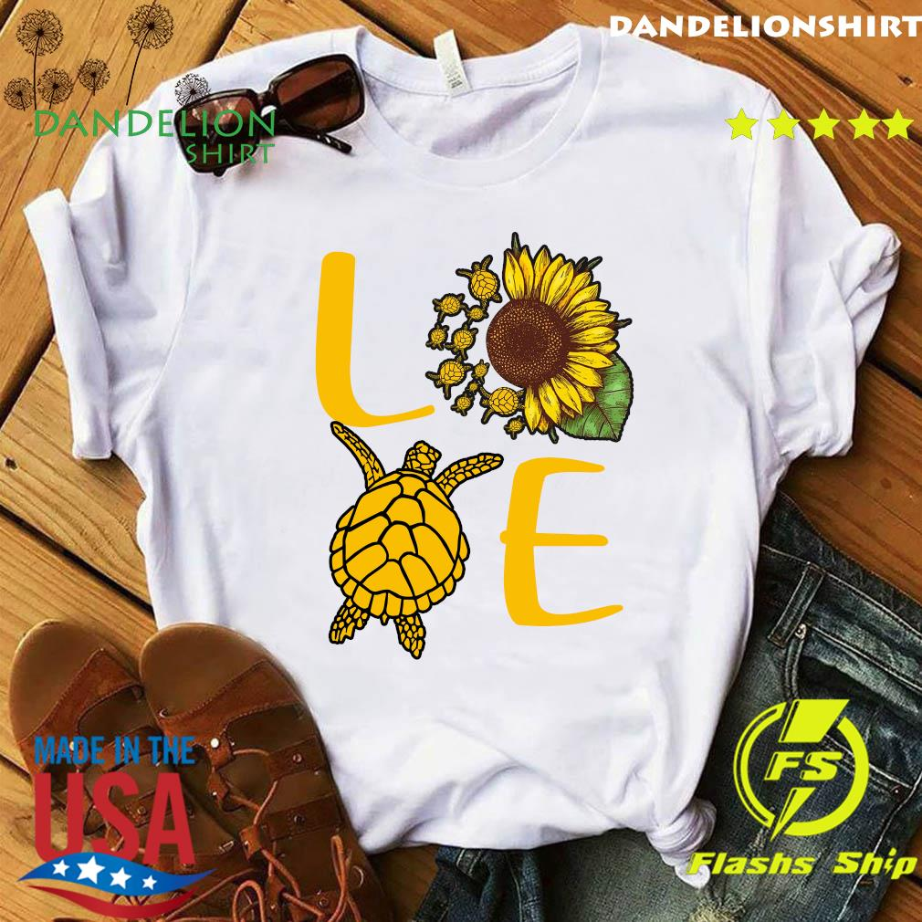 Love Sunflower Sea Turtle Shirt