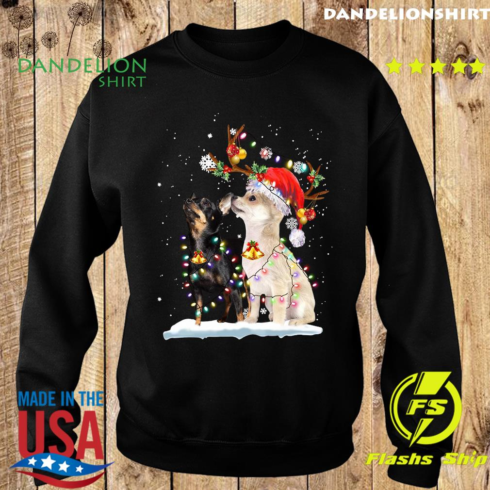 Miniature Pinscher Santa Xmas Merry Christmas Light Sweatshirt