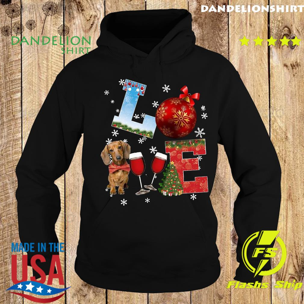 Official Love Dachshund Wine Ball Merry Christmas Sweats Hoodie