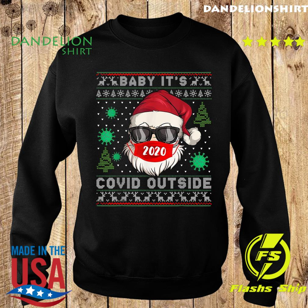 Santa Claus Face Mask 2020 Baby It's Covid 19 Outside Merry Christmas Ugly Sweatshirt