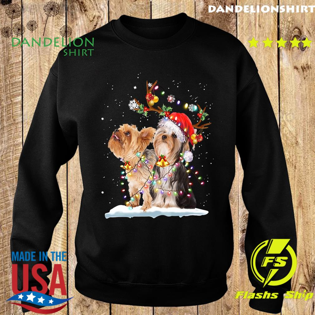 Yorkshire Terrier Santa Xmas Merry Christmas Light Sweatshirt