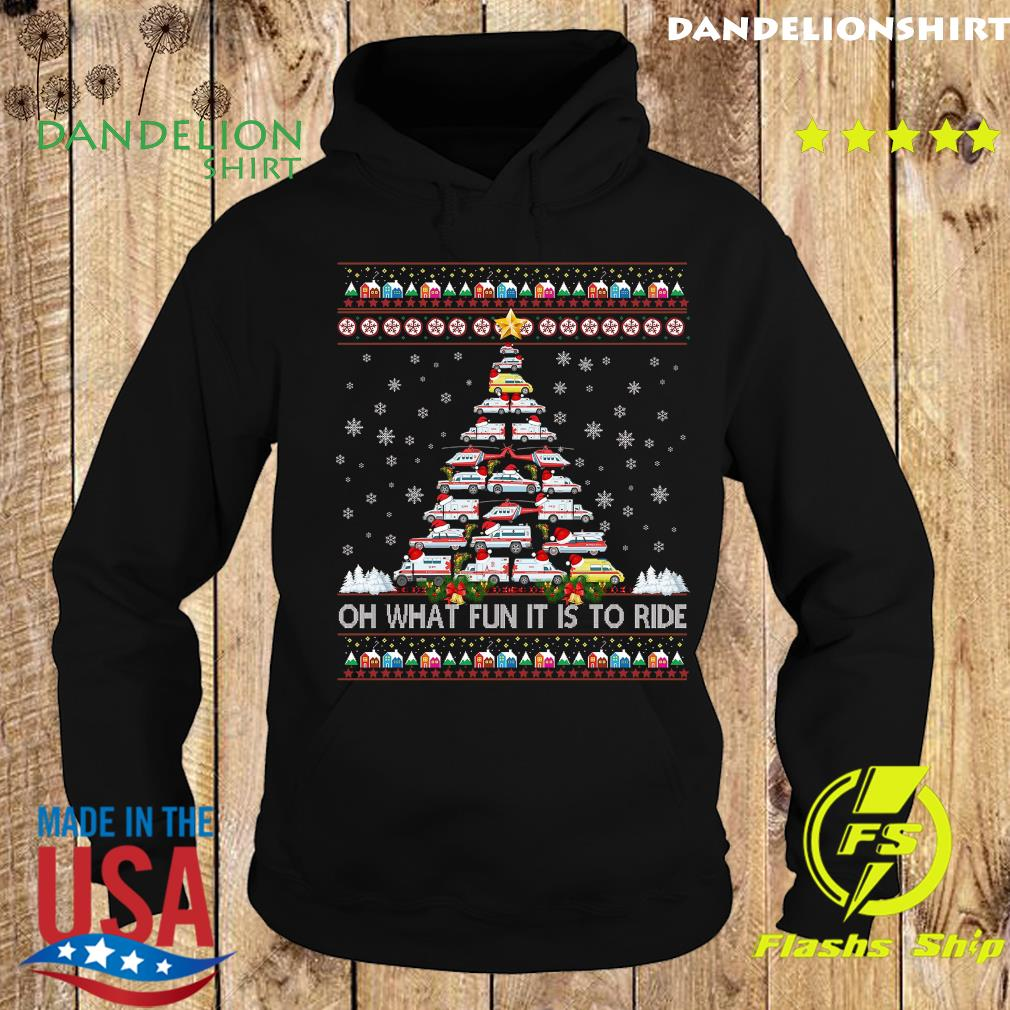 Ambulance Oh What Fun It Is To Ride Ugly Christmas Tree Sweats Hoodie