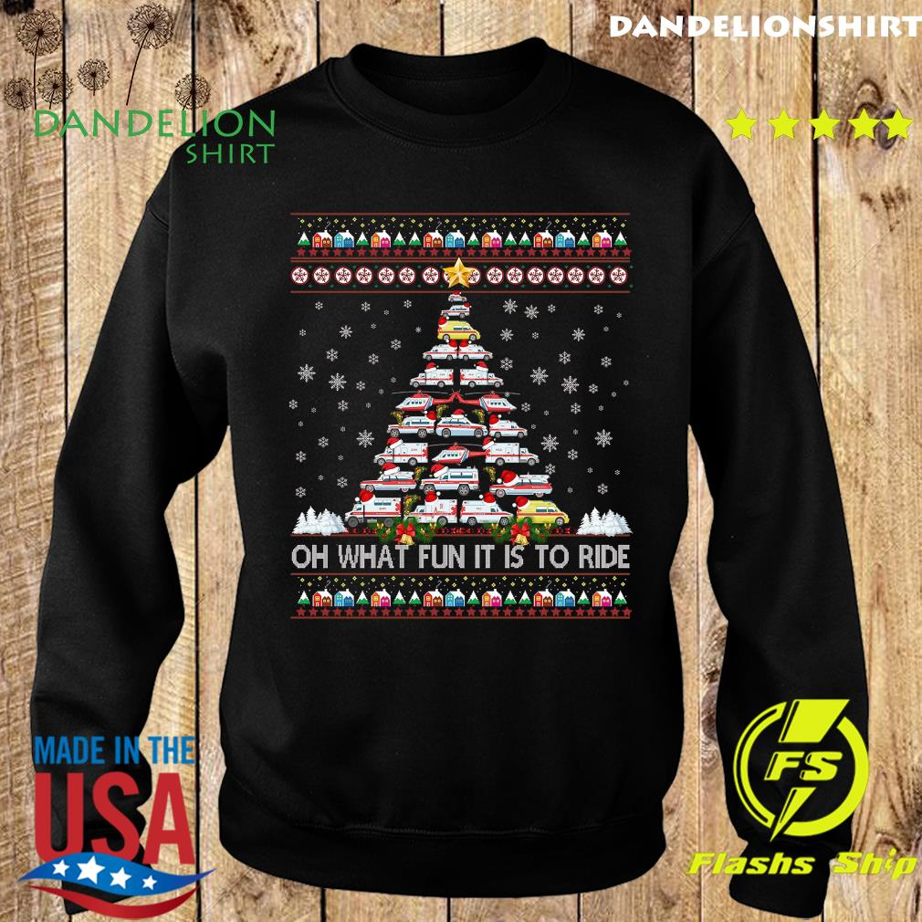 Ambulance Oh What Fun It Is To Ride Ugly Christmas Tree Sweatshirt