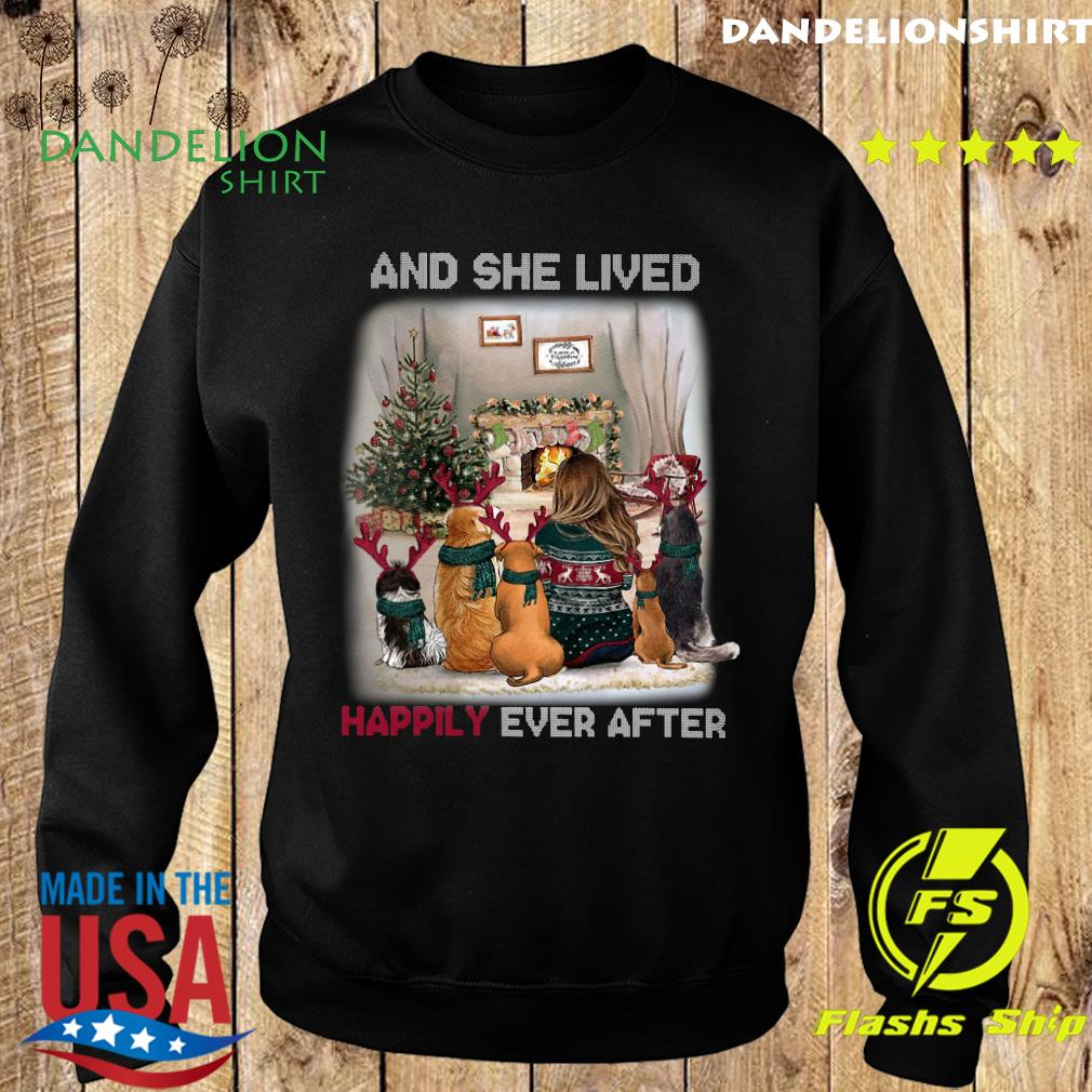 And She Lived Happily Ever After Dog Christmas Sweatshirt
