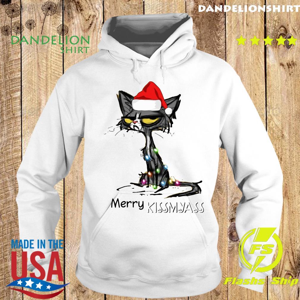 Black Cat Santa Hat Merry Kissmyass Christmas Sweats Hoodie