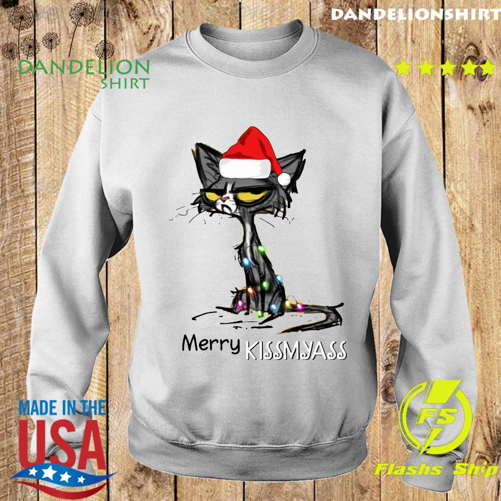 Black Cat Santa Hat Merry Kissmyass Christmas Sweatshirt