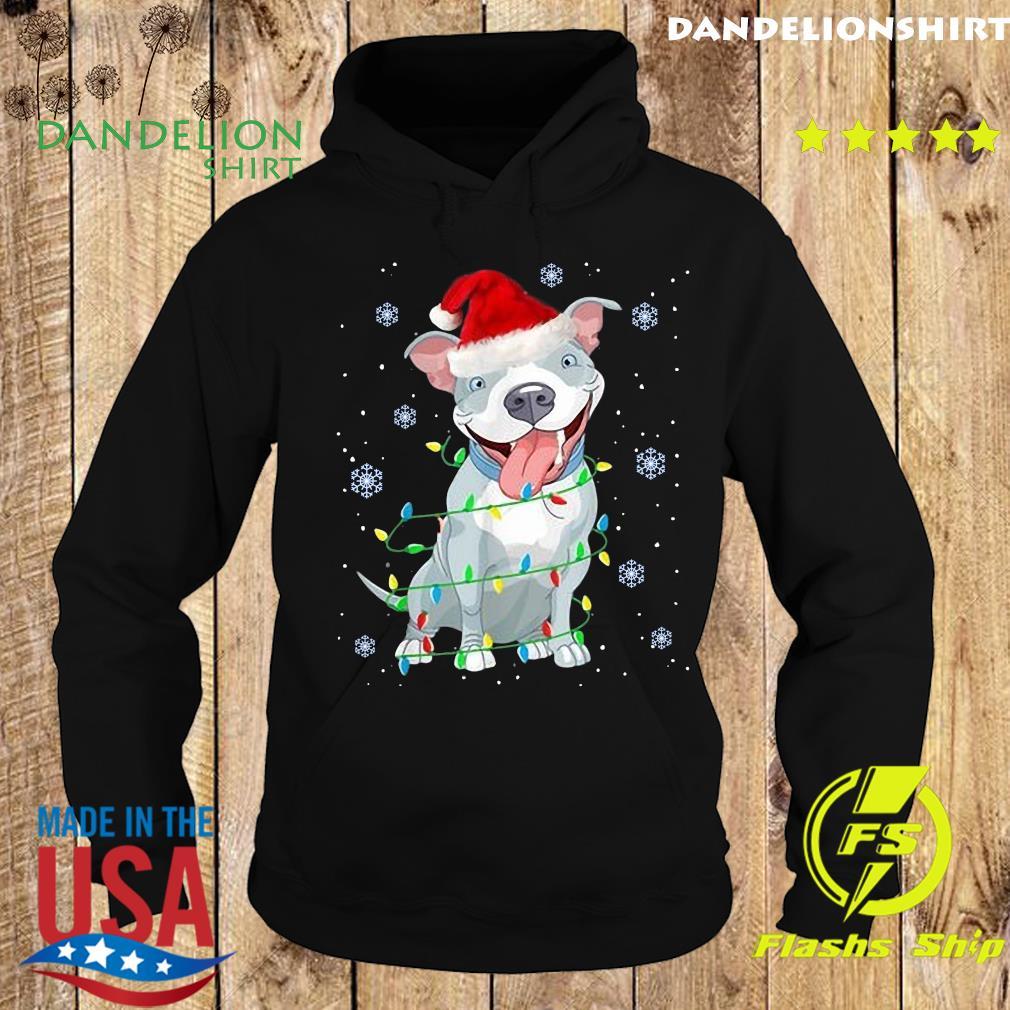 Pitbull Santa Light Merry Christmas Sweats Hoodie