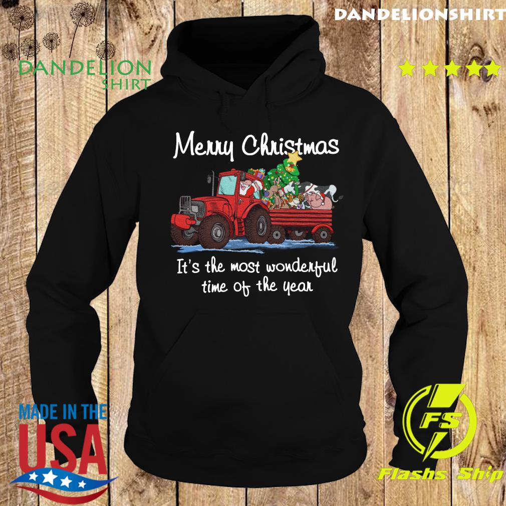 Santa Claus And Animal Merry Christmas It's The Most Wonderful Time Of The Year Sweats Hoodie