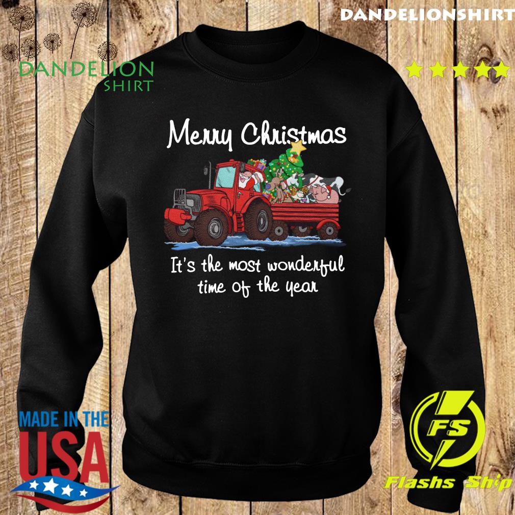 Santa Claus And Animal Merry Christmas It's The Most Wonderful Time Of The Year Sweatshirt