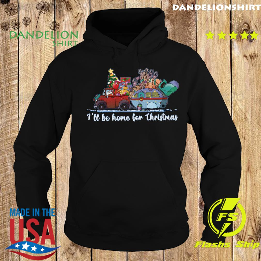 Santa Claus And Reindeer I'll Be Home For Christmas Tree Light Shirt Hoodie