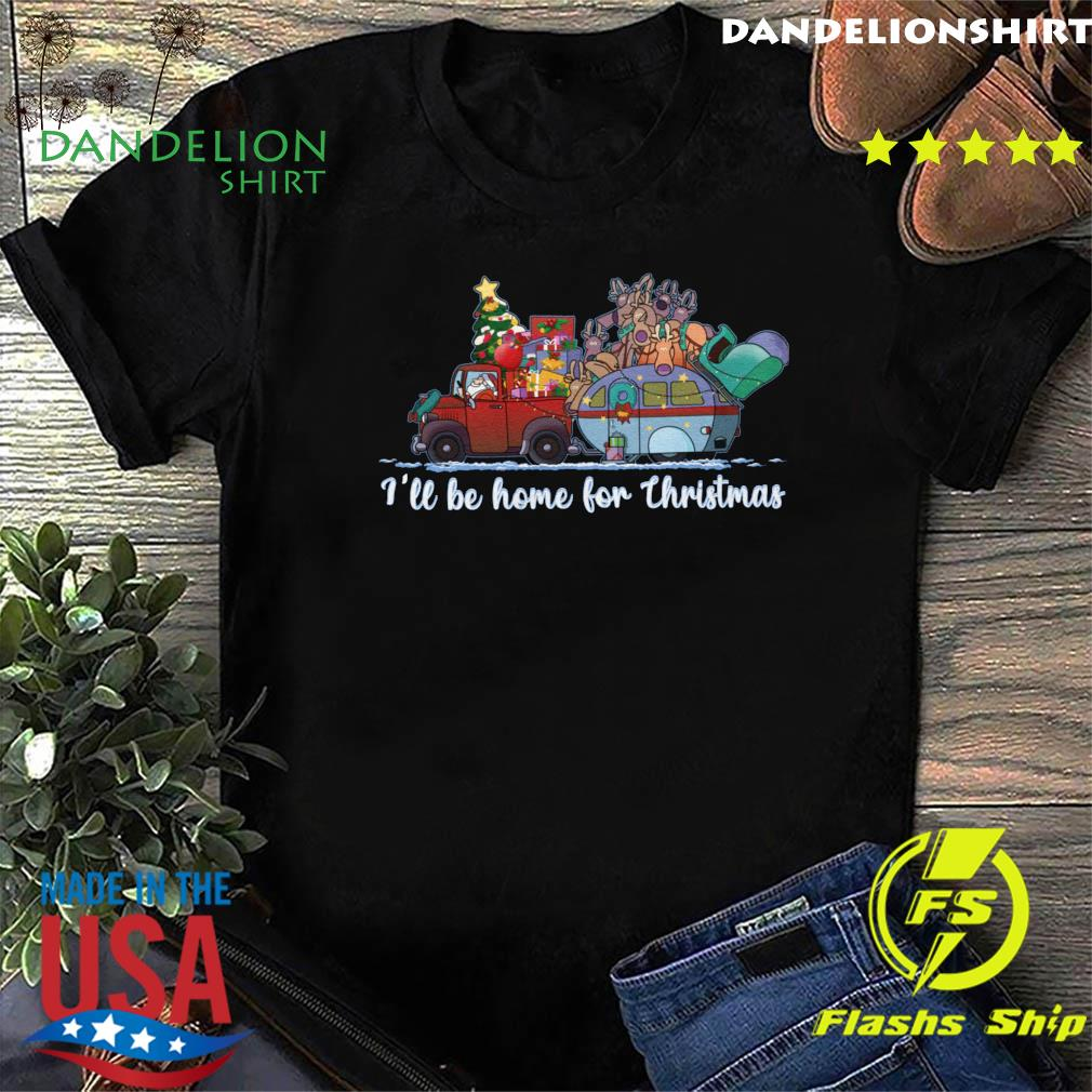 Santa Claus And Reindeer I'll Be Home For Christmas Tree Light Shirt