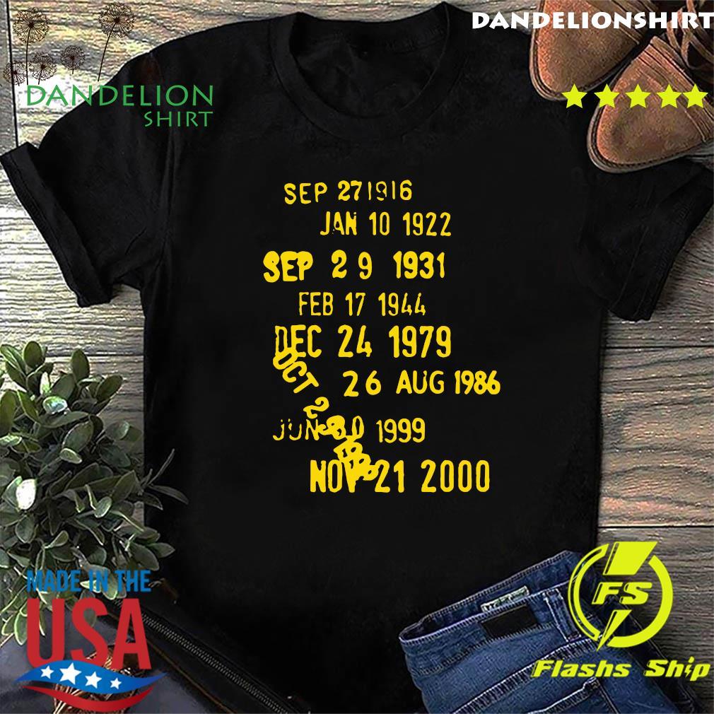 Sep 271916 Jan 10 1922 Sep 29 1931 Feb 17 1944 Dec 24 1979 Shirt