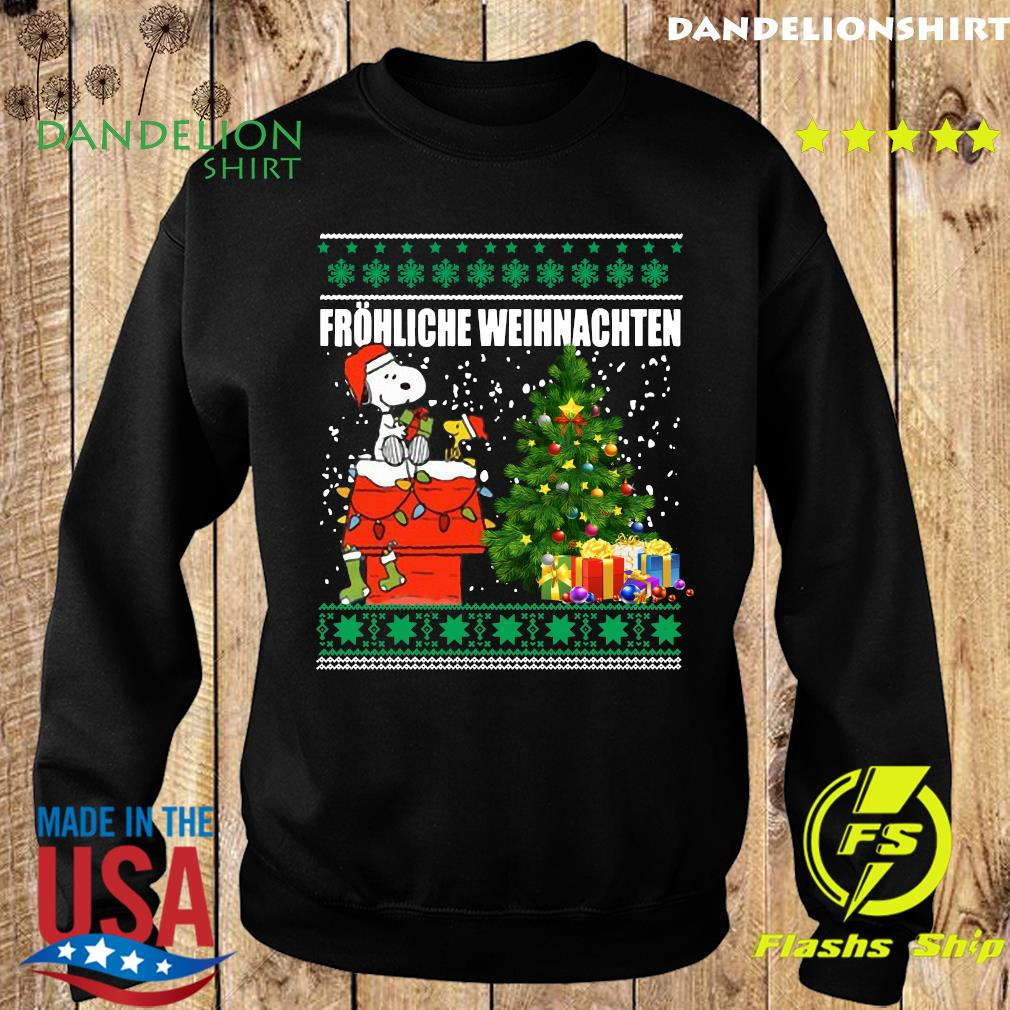 Snoopy And Woodstock Frohliche Weihnachten Ugly Merry Christmas Tree Sweatshirt