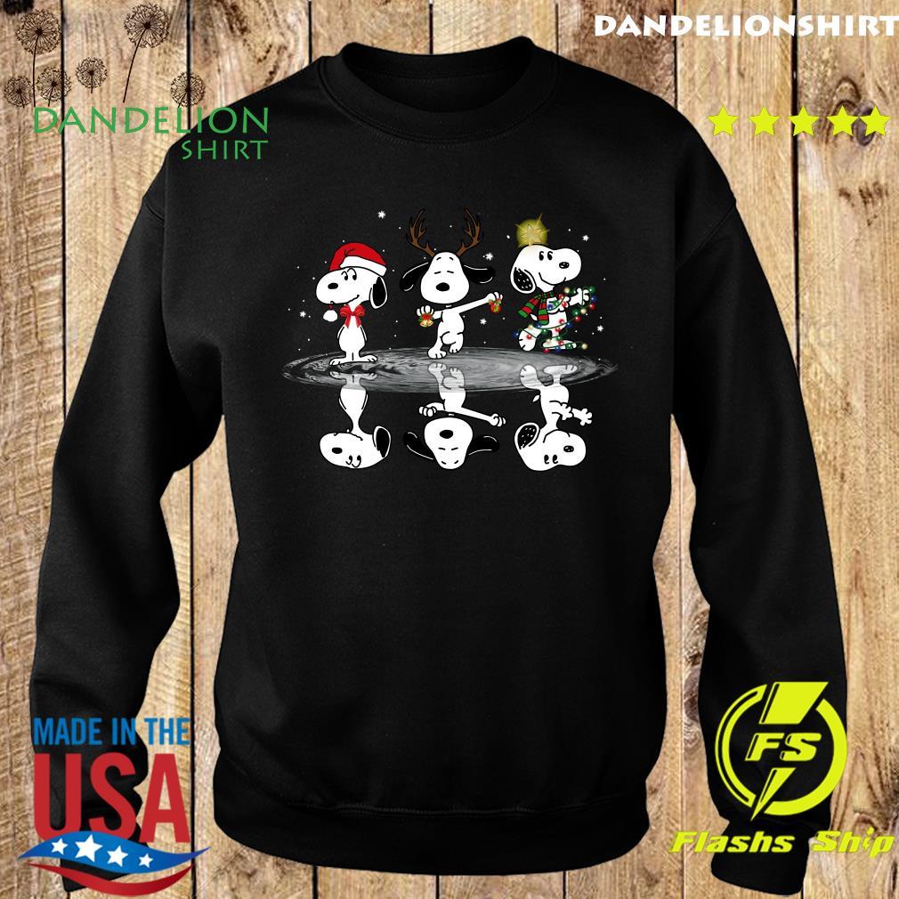 Snoopy Santa Reindeer Water Reflection Light Merry Christmas Sweatshirt