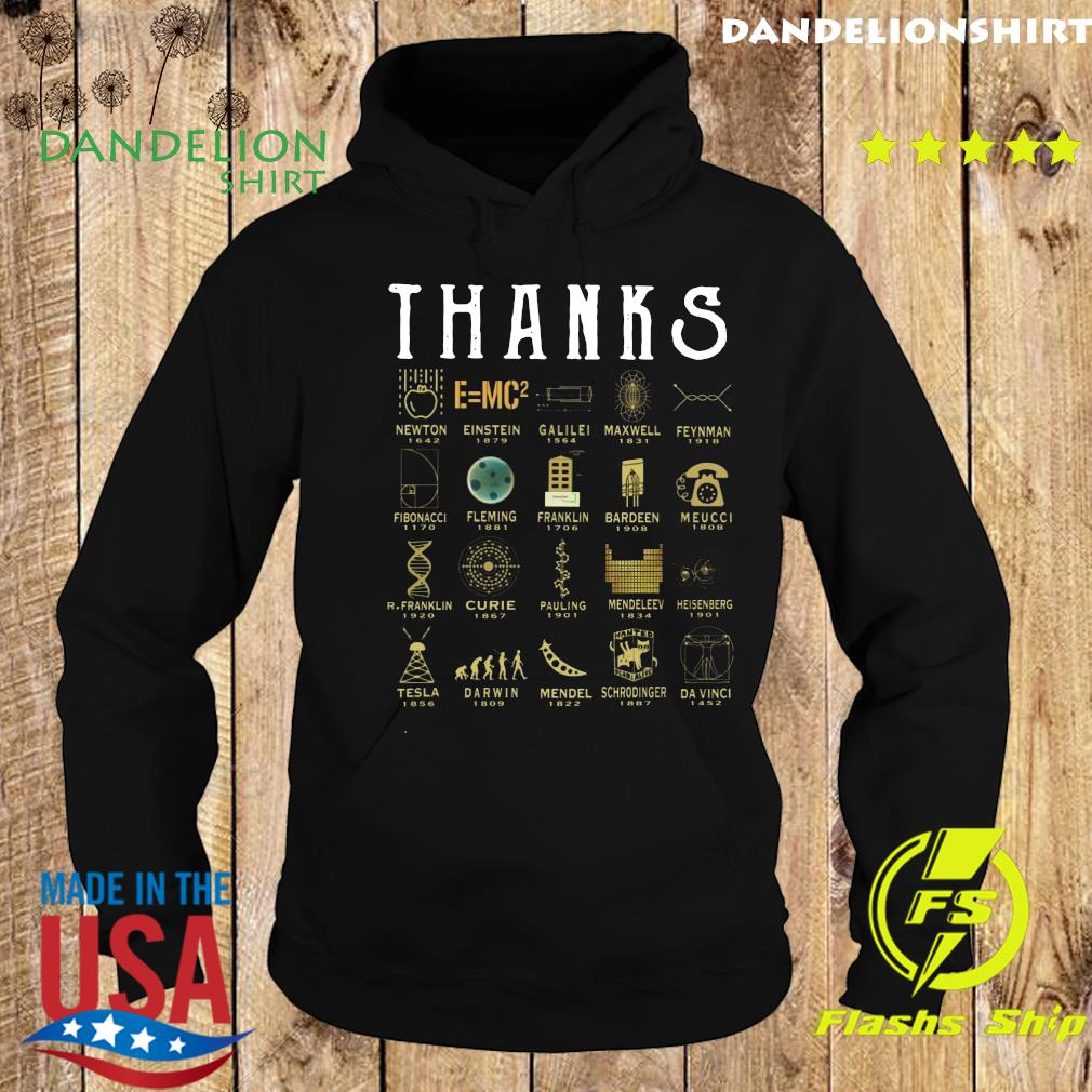 Thanks Newton 1642 Einstein 1879 Galilei 1564 Maxwell 1831 Feynman 1918 Shirt Hoodie